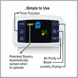 ebac 3850e dehumidifier control panel timer laundry mode drying washing indoors clothes inside wet damp mould